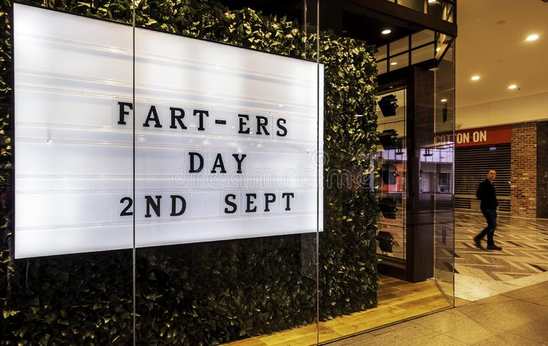 Fart-ers Day sign at a store in the Canberra Centre. Canberra, Australia - Sep 2, 2018: Fart-ers Day sign at a store in the Canberra Centre. A humorous royalty free stock photo