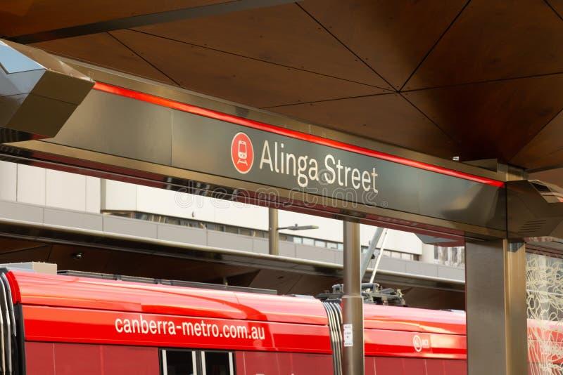 Canberra, Australien - 3. Juli 2019: Alinga-Straßen-Halt lizenzfreies stockbild