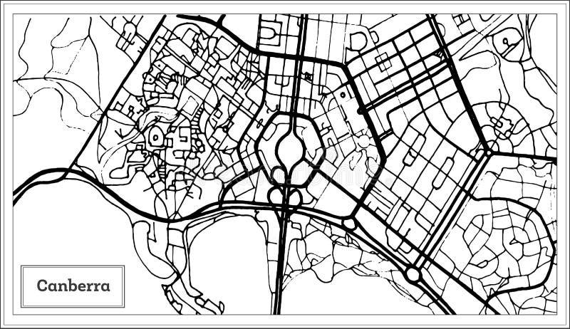 Canberra Australien stadsöversikt i svartvit färg stock illustrationer