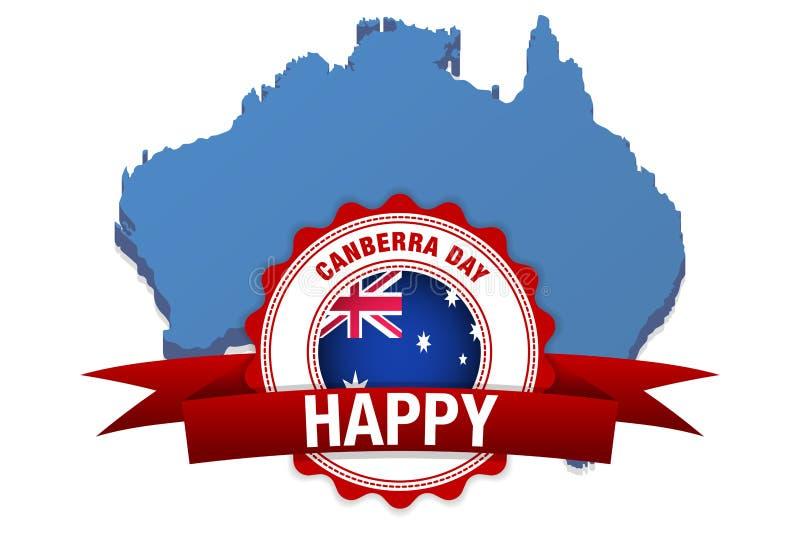 Canberra dag i Australien lycklig beröm för vektor Australien flagga och översikt stock illustrationer
