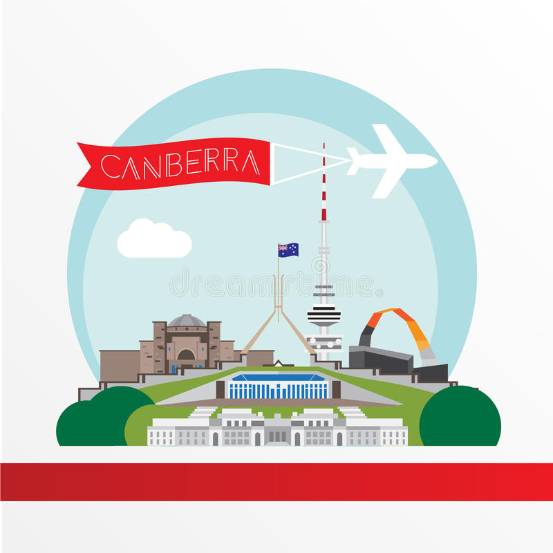 Canberra detailed silhouette. Trendy vector illustration, flat style. Stylish colorful landmarks. vector illustration