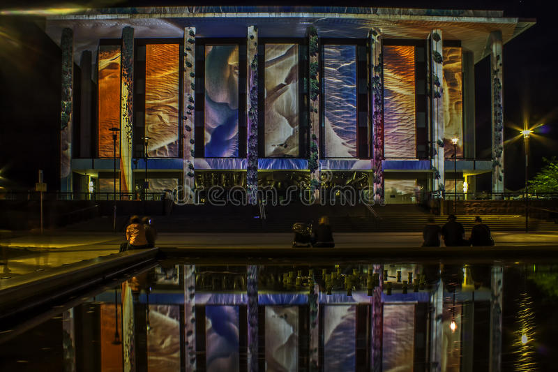 Canberra Enlighten Festival National Library. Film projection on walls with reflection in pool stock images