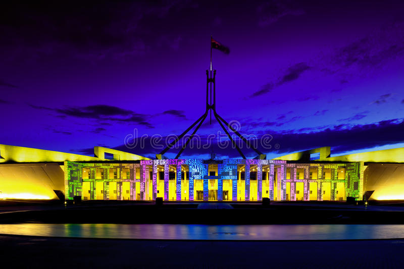 Canberra Enlighten Festival New Parliament Hou royalty free stock images