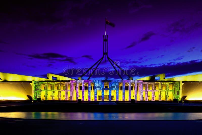 Canberra erleuchten das Festival-neue Parlament Hou lizenzfreie stockbilder