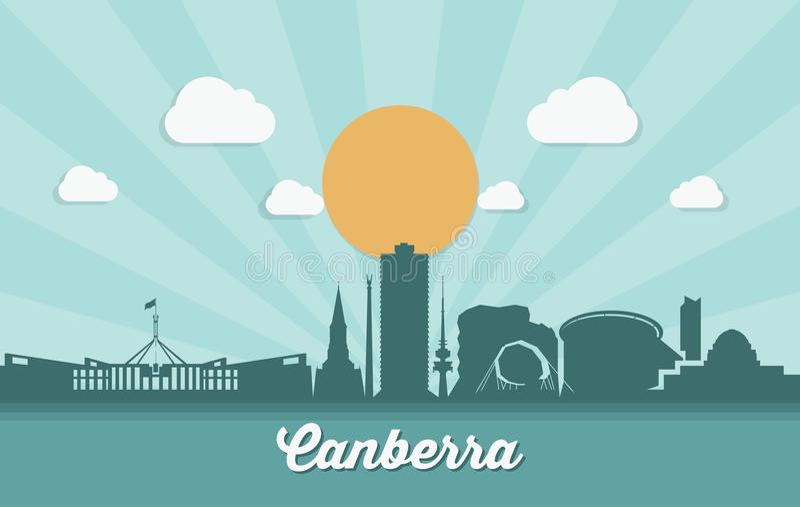 Canberra horisont - Australien - vektorillustration royaltyfri illustrationer
