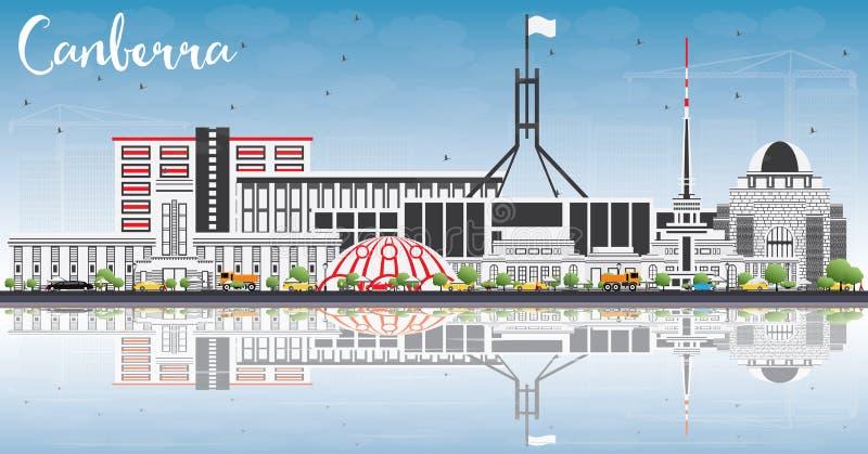 Canberra horisont med Gray Buildings, blå himmel och reflexioner royaltyfri illustrationer
