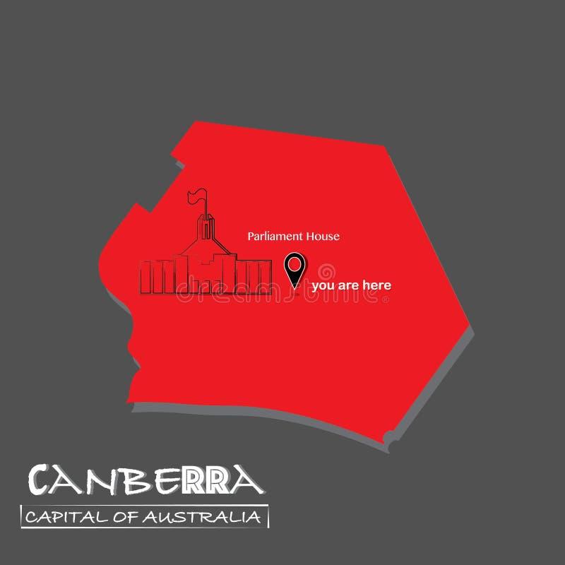 Canberra-huvudstad av den Australien översiktsvektorn är illustration-du Här-parlament byggnad, isolerad politisk översikt för bl vektor illustrationer
