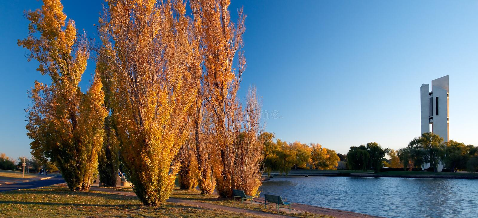 Canberra - Lake Burley Griffen - National Carillon. Lake Burley Griffen is an artificial lake in the centre of Canberra, Australia's federal capital city. The royalty free stock photo
