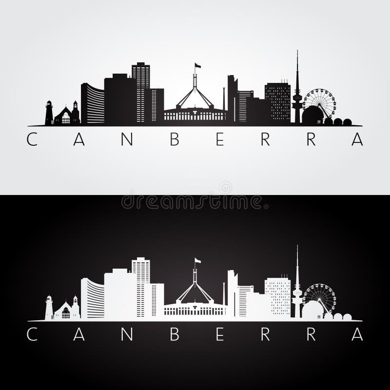Canberra linia horyzontu i punkt zwrotny sylwetka ilustracji