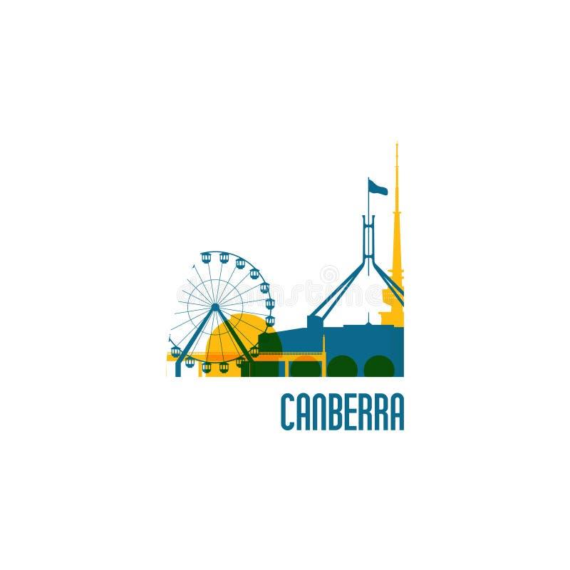 Canberra miasta emblemat budynki kolor royalty ilustracja