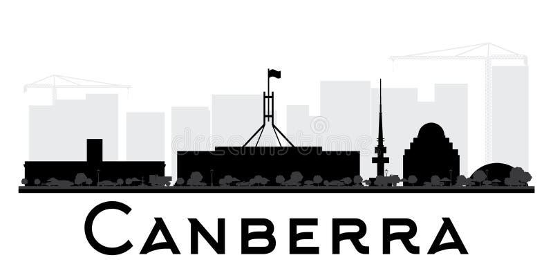 Canberra miasta linii horyzontu czarny i biały sylwetka ilustracja wektor