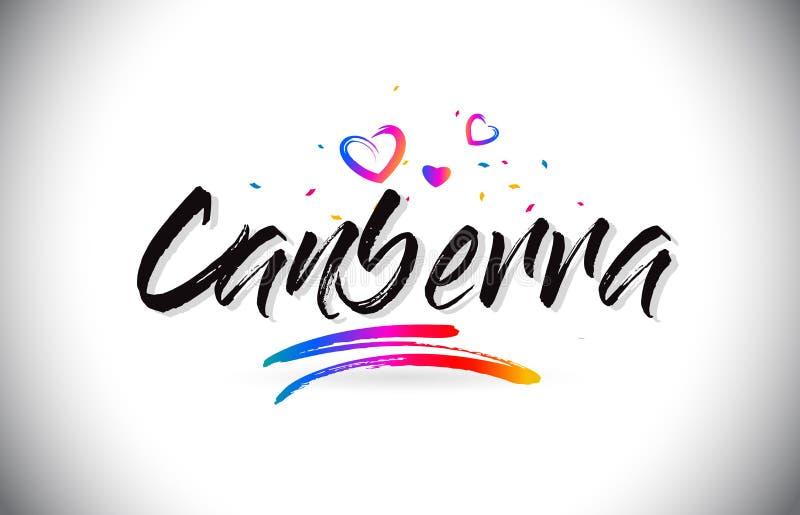 Canberra powitanie Formułować tekst z miłość sercami i Kreatywnie Ręcznie pisany chrzcielnica projekta wektorem ilustracji