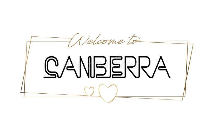 Canberra powitanie teksta literowania Neonowa typografia Słowo dla logotypu, odznaka, ikona, pocztówka, logo, sztandaru wektoru i ilustracji