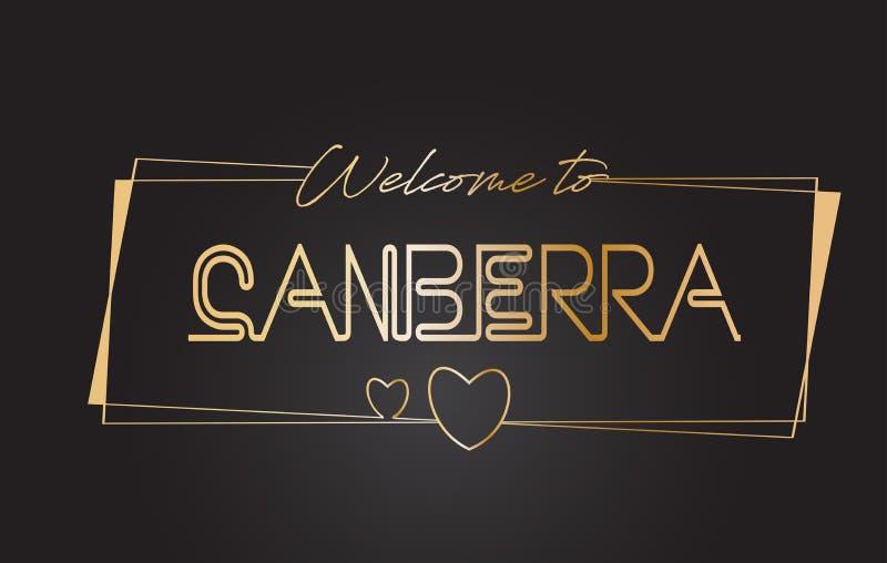 Canberra powitanie Złotego teksta literowania typografii wektoru Neonowa ilustracja royalty ilustracja