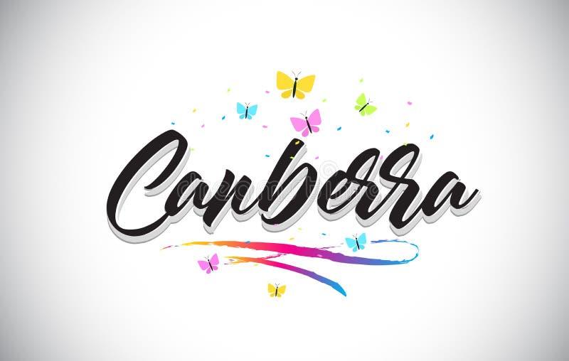 Canberra słowa Ręcznie pisany Wektorowy tekst z motylami i Kolorowym Swoosh ilustracji