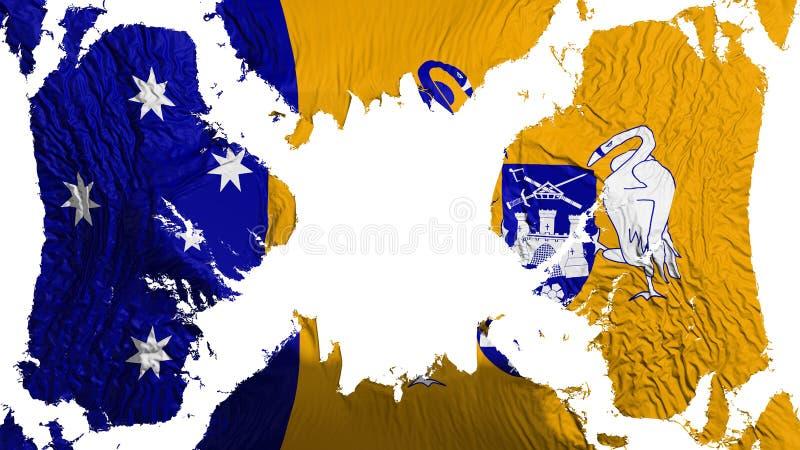 Canberra sönderriven flagga som fladdrar i vinden stock illustrationer