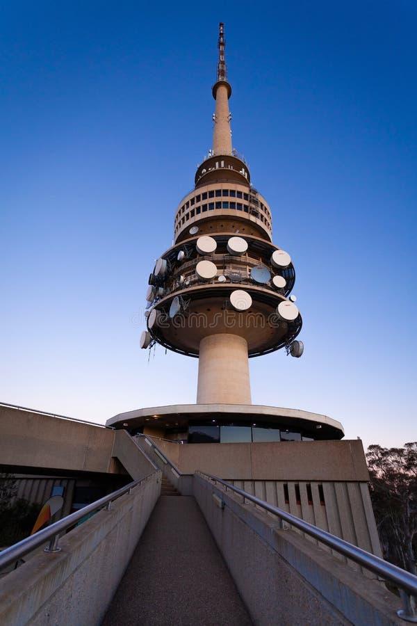 Canberra Tower Structure Sunset Australien stockbild