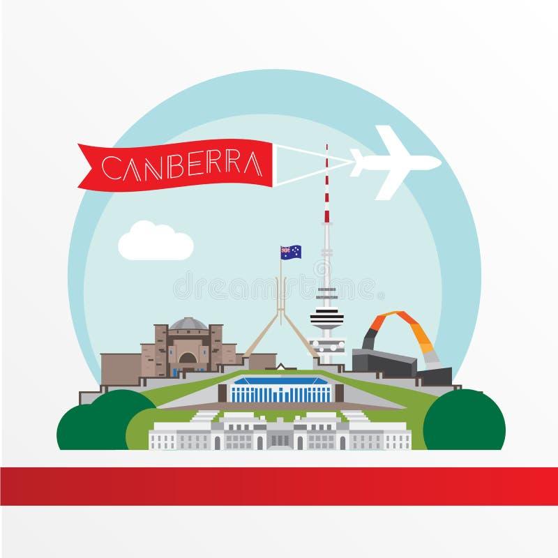 Canberra wyszczególniał sylwetkę Modna wektorowa ilustracja, mieszkanie styl Eleganccy kolorowi punkty zwrotni ilustracja wektor