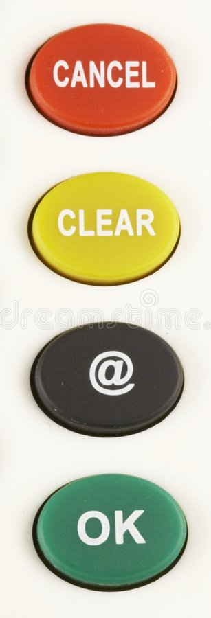 Download CANCEL - CLEAR - @ - OK Button 03 Royalty Free Stock Images - Image: 850189