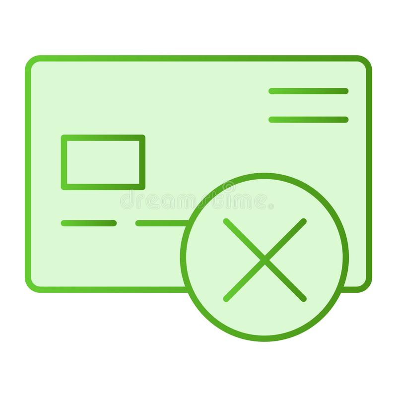 Cancel credit card flat icon. Plastic card with cross green icons in trendy flat style. Wrong transfer gradient style. Design, designed for web and app. Eps 10 vector illustration