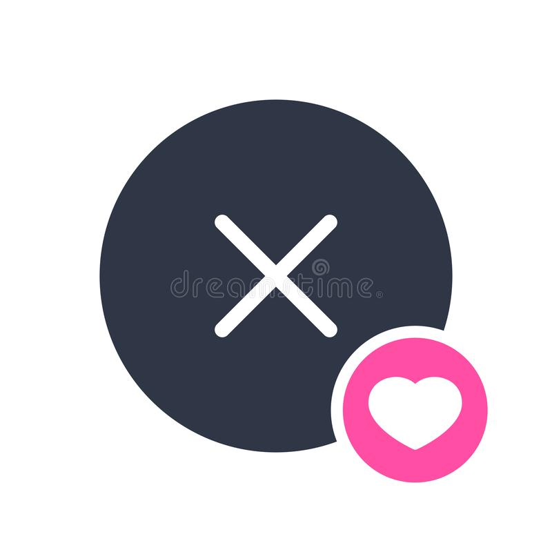 Cancel icon, signs icon with heart sign. Cancel icon and favorite, like, love, care symbol. Vector illustration vector illustration