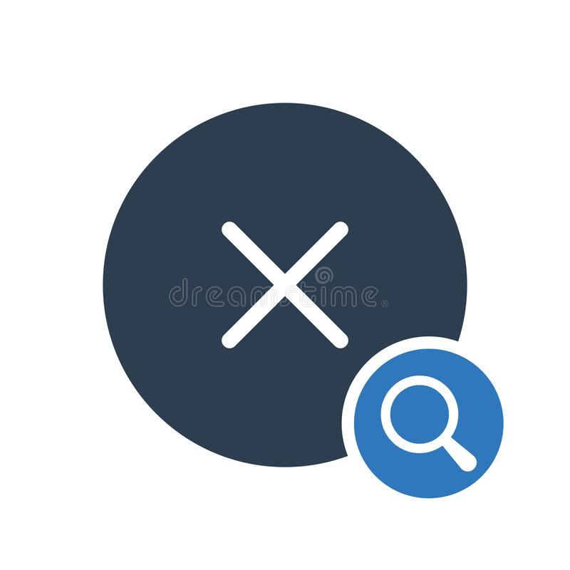 Cancel icon, signs icon with research sign. Cancel icon and explore, find, inspect symbol. Vector illustration stock illustration