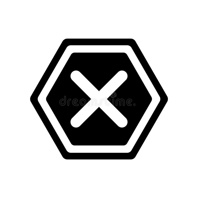 Cancel icon vector isolated on white background, Cancel sign , w. Cancel icon vector isolated on white background, Cancel transparent sign , warning symbol royalty free illustration