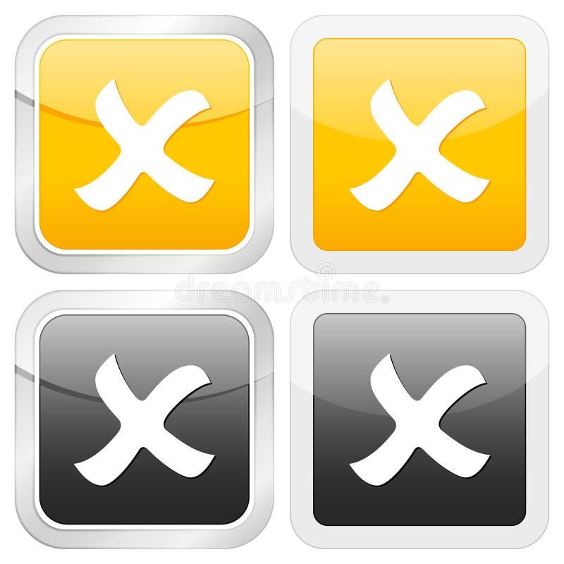 cancel ikony kwadrat royalty ilustracja