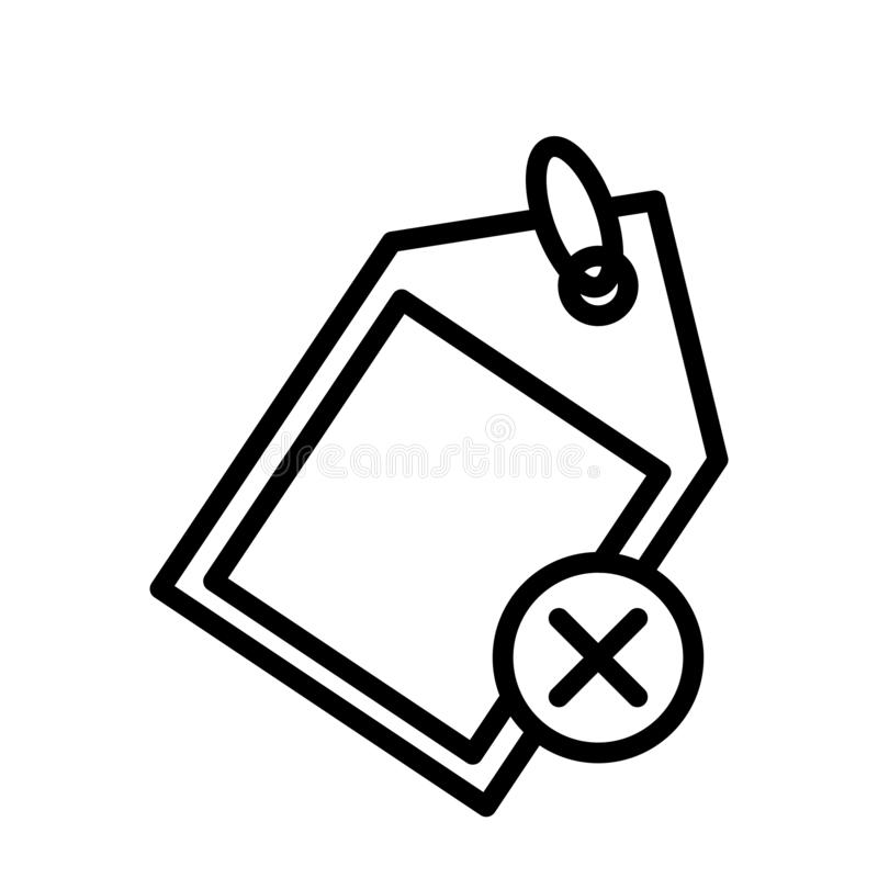 Cancel tag thin line vector icon. Cancel tag vector icon. Elements for mobile concept and web apps. Thin line icons for website design and development, app royalty free illustration