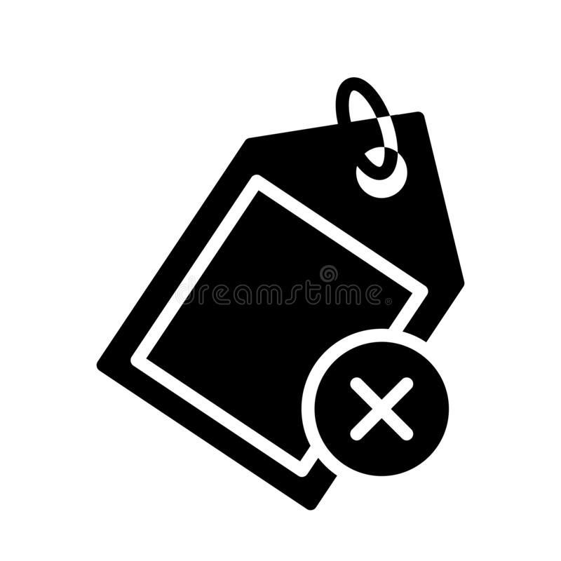 Cancel tag glyph flat vector icon. Cancel tag vector icon. Elements for mobile concept and web apps. Thin line icons for website design and development, app stock illustration