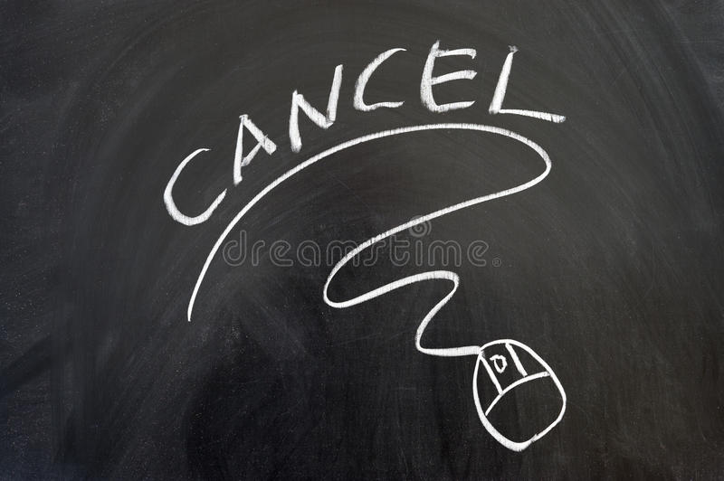 Cancel word and mouse sign. Drawn on the blackboard royalty free stock photography