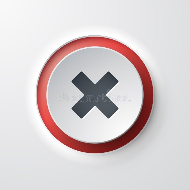 Cancelación cruzada de botón del icono del web stock de ilustración