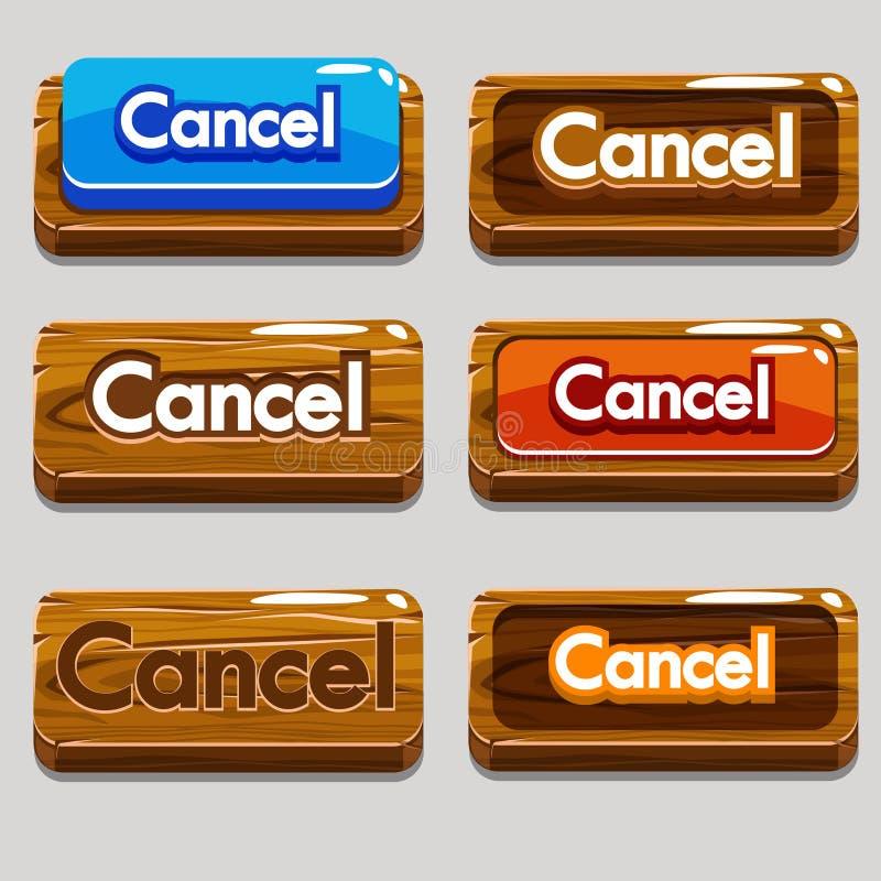 CANCELAMENTO de madeira dos botões dos desenhos animados para o jogo ilustração royalty free