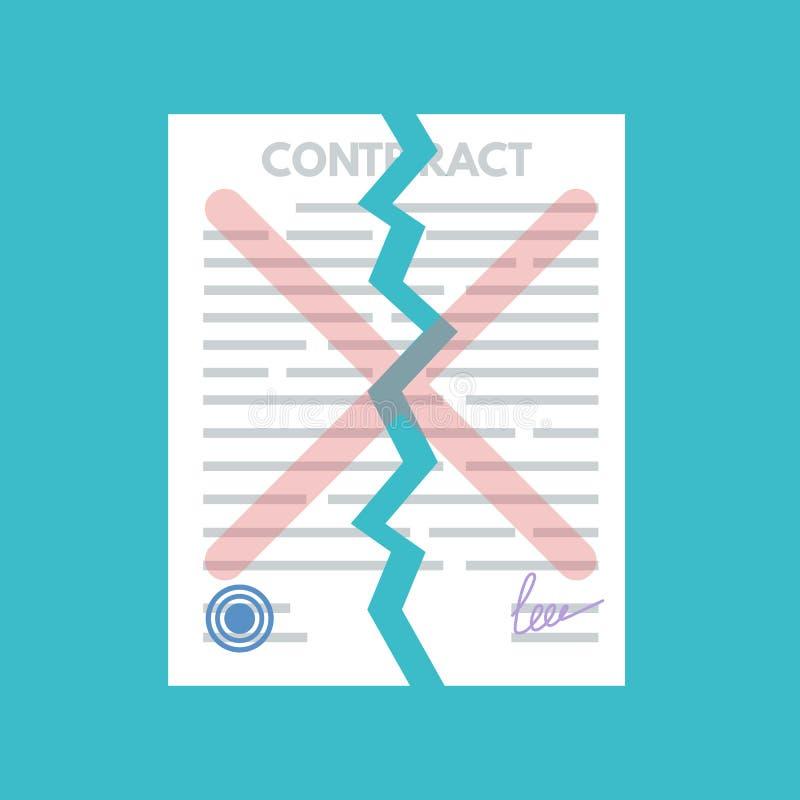 Cancelamento ou contrato terminado Conceito do desacordo ilustração stock