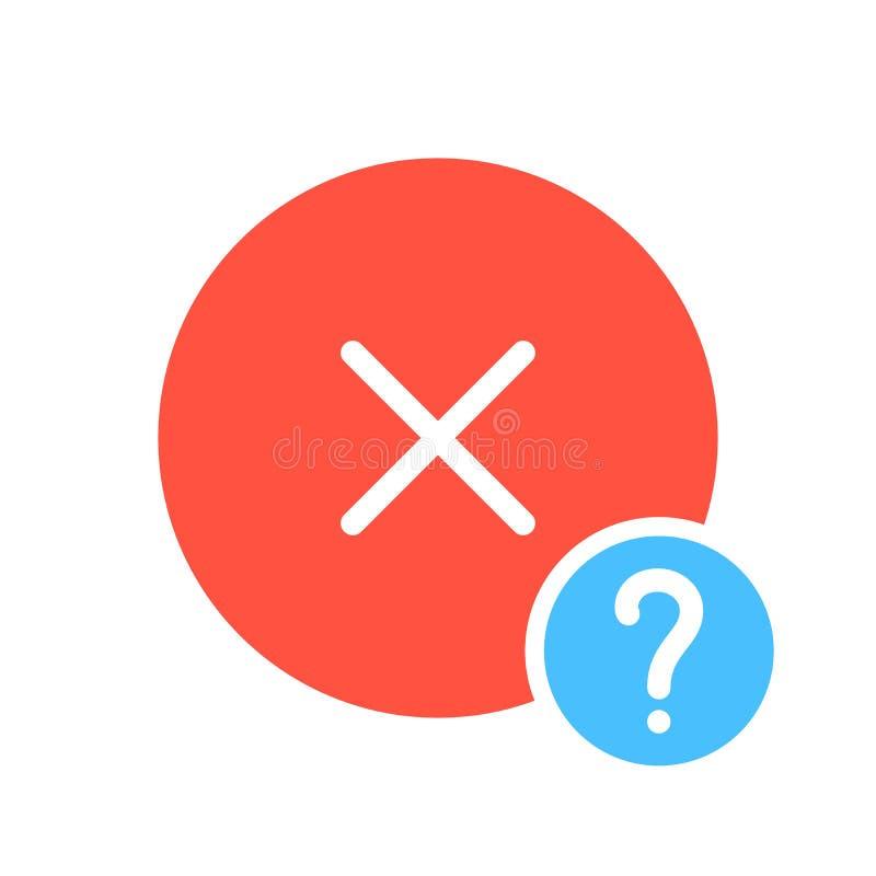 Cancele o ícone, ícone dos sinais com ponto de interrogação Cancele o ícone e a ajuda, como a, informação, símbolo da pergunta ilustração do vetor