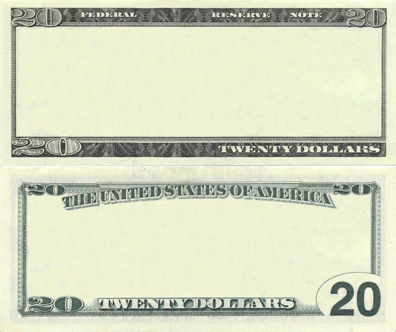 Cancele o teste padrão da nota de banco de 20 dólares imagens de stock