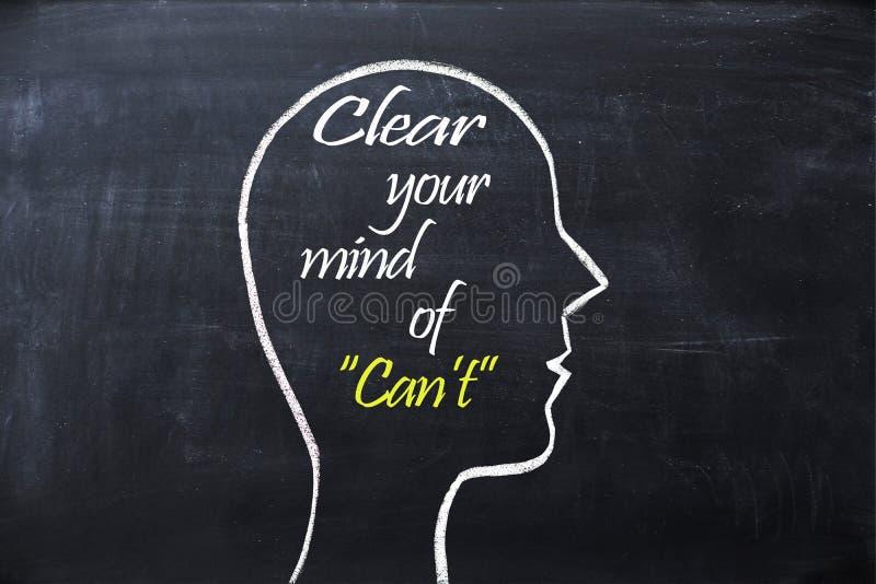 Cancele sua mente da frase do ` t da lata dentro da forma da cabeça humana tirada no quadro imagens de stock royalty free