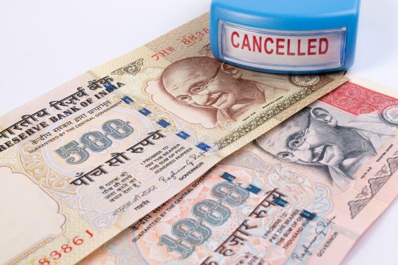 Canceled banknote concept. Mahatma Gandhi on Indian 500, 1000 rupee banknote canceled. India canceled banknote. India rupee 500 and 1000 banknote declared royalty free stock photography