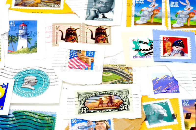 Canceled US Postage Stamps Stock Image