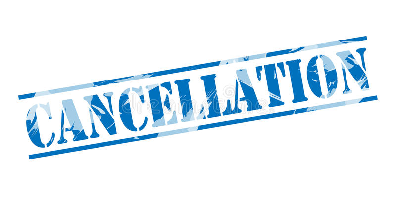 Cancellation blue stamp. Isolated on white background royalty free illustration