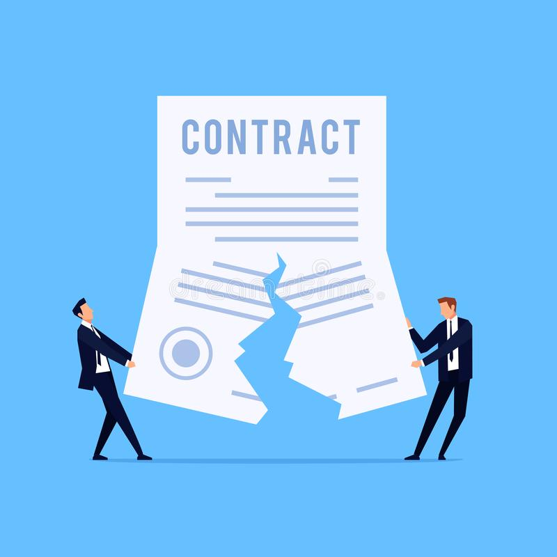 Cancellation of a contract. Vector concept of termination of an agreement. Two man on suit tearing contract. Businessman in workspace. Vector illustration royalty free illustration
