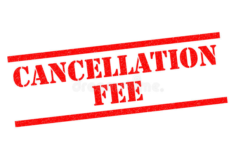 CANCELLATION FEE. Red Rubber Stamp over a white background stock illustration