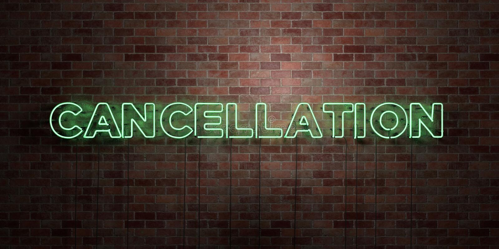 CANCELLATION - fluorescent Neon tube Sign on brickwork - Front view - 3D rendered royalty free stock picture. Can be used for online banner ads and direct vector illustration