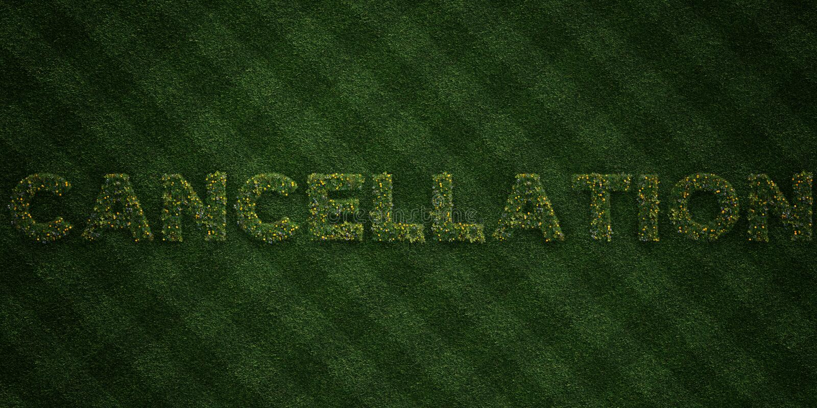 CANCELLATION - fresh Grass letters with flowers and dandelions - 3D rendered royalty free stock image. Can be used for online banner ads and direct mailers stock illustration