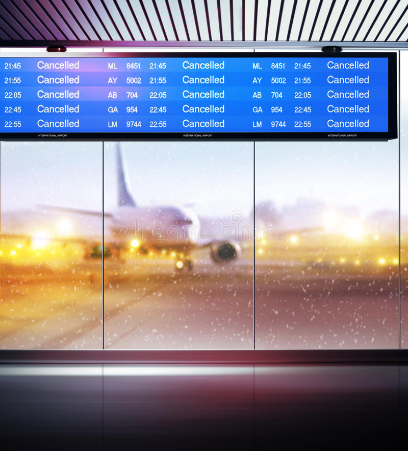 Cancellation of planes flights. Tourist info signage informing on cancellation of planes flights in airport stock photo
