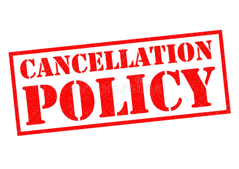 CANCELLATION POLICY. British spelling red Rubber Stamp over a white background vector illustration