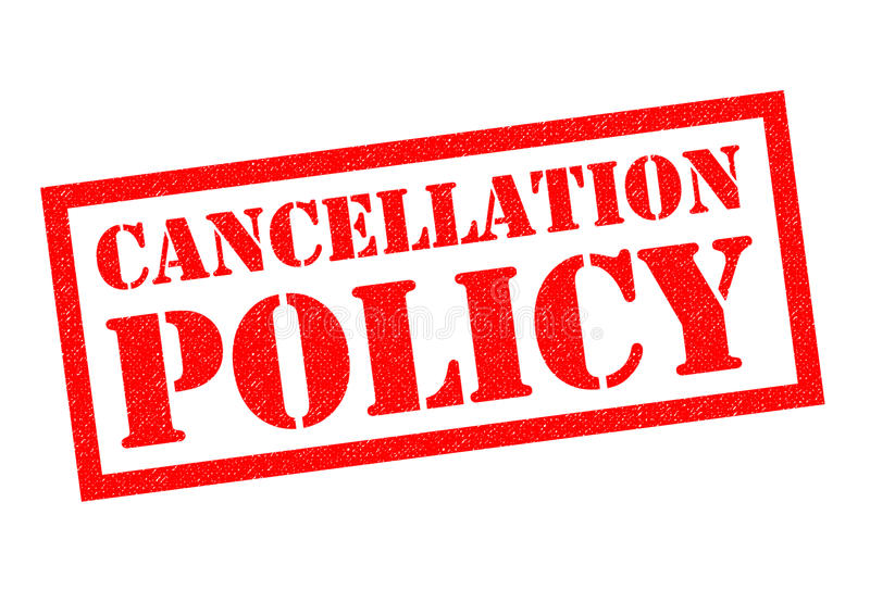 CANCELLATION POLICY. Red Rubber Stamp over a white background stock illustration