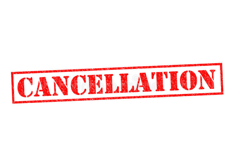 CANCELLATION. Red Rubber Stamp over a white background stock illustration