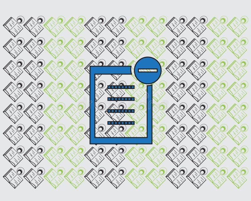 Cancellazione del testo del documento dell'icona per confermare elaborazione dei dati illustrazione vettoriale