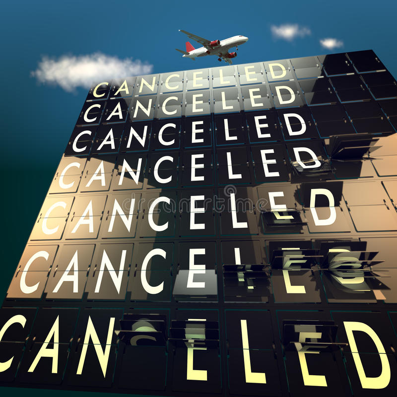 Cancelled on a mechanical timetable sky and plane. Cancelled on a mechanical timetable stock photos
